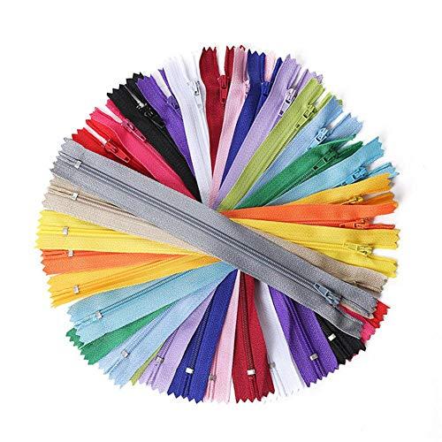 20 pezzi da 7,5 cm a 35 cm di cerniera in nylon per lavori di cucito su misura, accessori per cucito in nylon, cerniere sfusolate, 20 colori, 25 pezzi