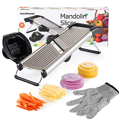 Ourokhome Stainless Steel Mandolin Slicer -Large Adjustable French Fry Cutter Potato Chips Grater for Vegetables, Onion, Tomato, Cabbage, Fruit with a Resistant Glove and Blade Cover