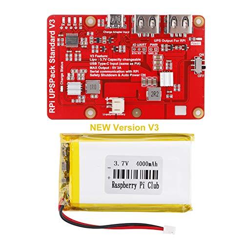 MakerFocus Raspberry Pi 4 Battery Pack UPS, RPI Pack Standard(Raspberry Pi Battery, USB Battery Pack Raspberry Pi,) Latest Version V3 Expansion Board Power Supply Type-C for Raspberry 4B 3B+, 3B 2B+