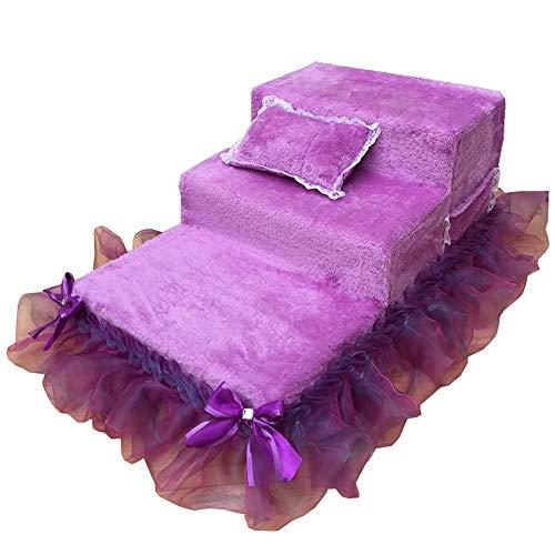 Jie KE ladder voor honden, in 3 stappen, violet met groot bed, kleine treden van punt voor een hoge bank, slipvaste bodem, licht en draagbaar