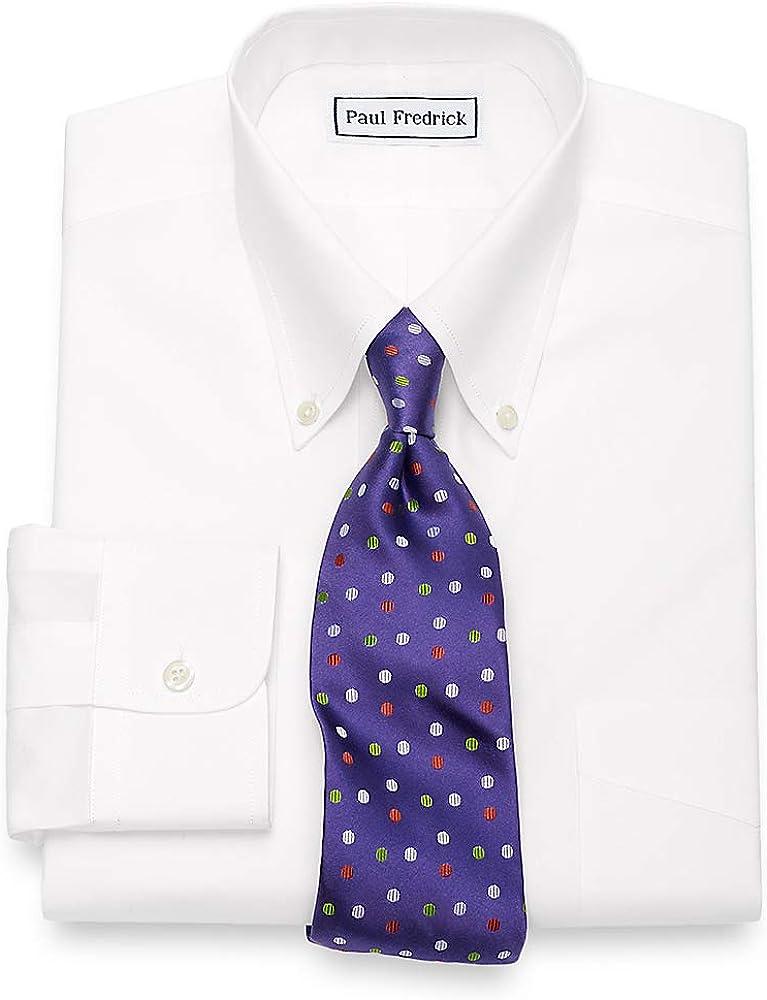 Paul Fredrick Men's Slim Fit Non-Iron Supima Cotton Button Down Dress Shirt