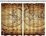 BOKEKANG Cortinas para Ventana de Cocina,Carta Global náutica Medieval Impresión de Atlas de Aventuras Marinas Antiguas,Cortina Corta para Cocina Decoración de Ganchos para Baño,Pack 2,140x100cm