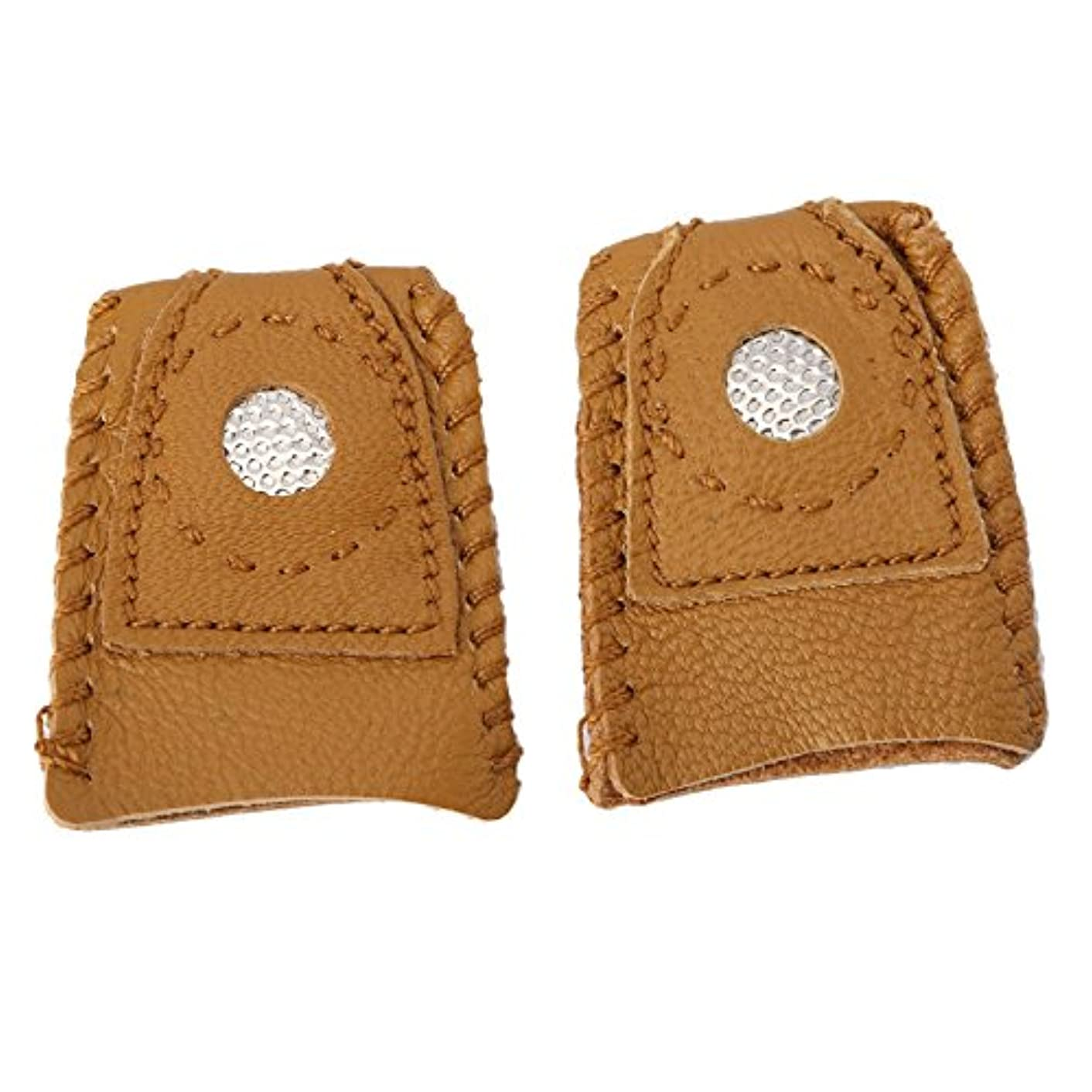 Mtsooning 2Pcs Small Leather Coin Thimble Finger-Fit Protector with Metal Tip Perfect for Sewer