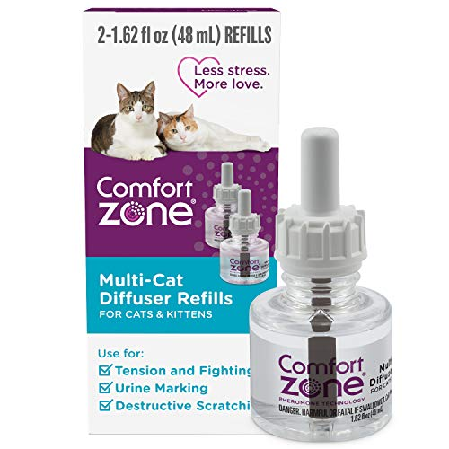 Comfort Zone Cat Calming Diffuser Refill for Multi-Cat Homes to Stop Cat Fighting and Reduce Problem Behavior, Vet Recommended, 2 Pack Refill (48ml) 60 Day Use