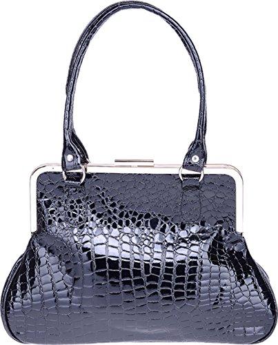 Küstenluder Damen Tasche Sylvie Kroko Stil Vintage Bag Schwarz