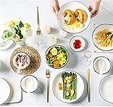 CSYY Geschirr Set aus Steingut, 30 teilig, Geschirrservice für 6 Personen, Teller-Set aus Porzellan, Premium Runde Geschirrset mit Schüsseln, Essteller,Dipschalen, Essstäbchen,Weiß - 2