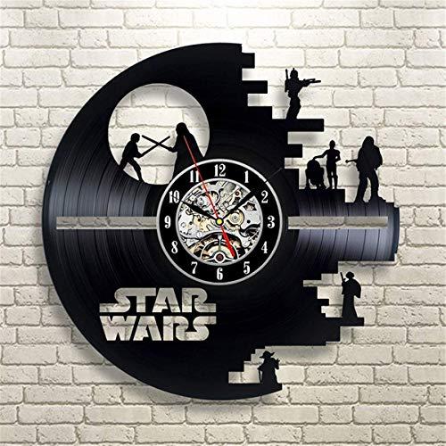 MingXinJia Relojes de Cabecera para el Hogar Reloj de Pared con Disco de Vinilo - Decoración de Pared Contemporánea Y para el Hogar - Fan Art Moderno de Star Wars - Regalo para Hombres Y Mujeres,segu
