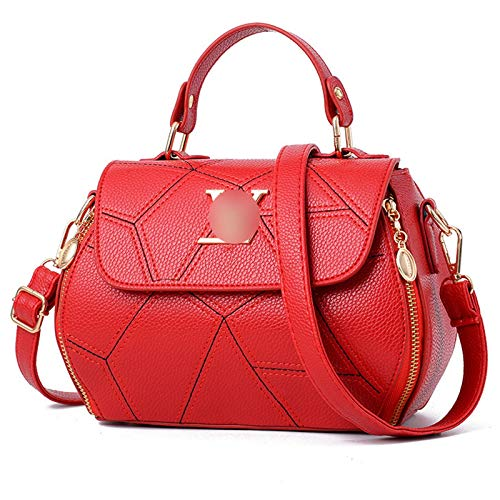 Top Handle Bags Leather Satchel Totes Shoulder Bag Large Capacity Shoulder Bag Purses and Handbags for Women Handbag (Color : Red)