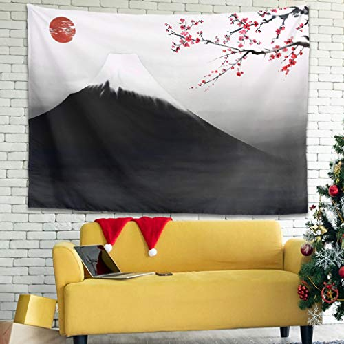 OwlOwlfan Tapiz de cultura japonesa ligero para decoración del hogar, tapiz, fondo de tela, cortina para puerta, decoración del hogar, color blanco 59 x 51 pulgadas