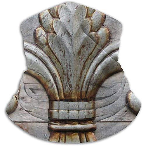 Randy-Shop Pauw Bloem Lelie Roestige Antieke Hout Zilver Middeleeuwse Deurbel Franse Heiligen Symbool Rustieke Fleece Neck Warmer
