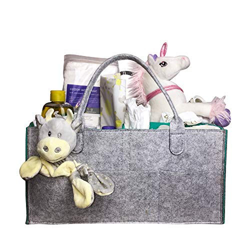Baby Diaper Caddy Organizer - Portable and Multi-Use Baby Shower Gift Basket | Portable Car Travel Organizer | Nursery Tote Bag | Storage Bin for Changing Table | Newborn Registry Must Have