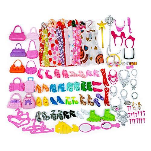 70 piezas ropa accesorios para muñecas Barbie 10 Set vestido vestido 30 piezas joyas accesorios obtienen collar espejo perchas, 20 pares de zapatos y 10 piezas bolso para muñecas de niña de 30 cm