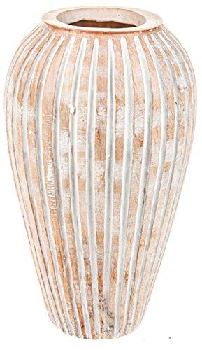 34 cm de haut Résine en terre cuite Vase Urne Pot de fleurs Motif Strié Style Art déco