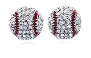 Adorable Baseball Earrings for Women, Team Gift Ideas for Softball, Baseball or Volleyball Baseball Earrings Feature White Rhinestones and Accents, Baseball Earrings and Volleyball Earrings Feature Rhinestones and Clear Accents Earrings Make a Perfec...