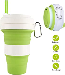 Collapsible Silicone Cup - Idealife Drinking Cup Foldable Cup with 3 Adjustable Capacities, BPA Free, Portable Folding Cup for Travel Camping Hiking Office, Max Up to 550ml (Matcha Green)