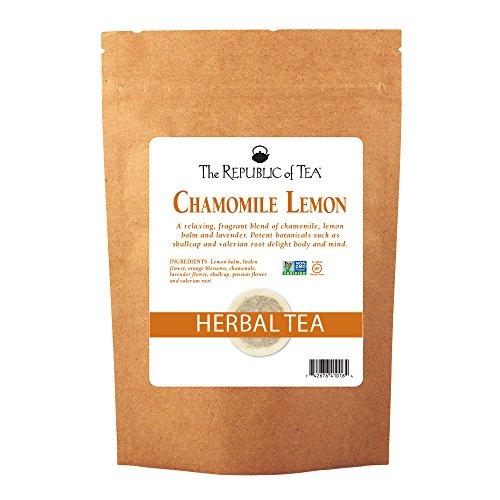 The Republic Of Tea Chamomile Lemon Herbal Tea Bulk, 250 Tea Bags, Caffeine-Free Tea With Valerian Root