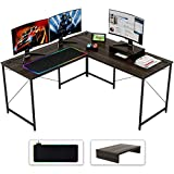 Bestier L Shaped Computer Desk with RGB Black Gaming Mouse Pad, Adjustable 59' Corner or 95' Extra Long Desk with Monitor Stand, Home Office Working Gaming Table with Cord Management, Brown