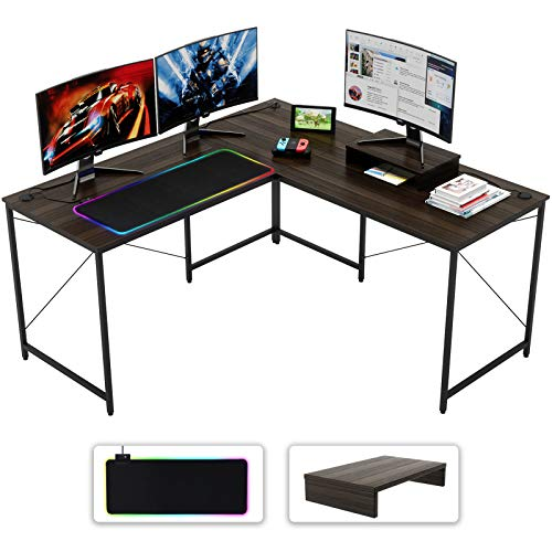 Bestier 59.4' L Shaped Computer Desk w/Black Gaming Mouse Pad 95.2' 2 Person Desk Home Office w/Monitor Stand, 3 Monitor Desk U Shaped Workstation Sturdy Easy Assembly, Brown