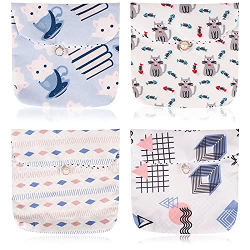 4 mini bolsas para tampones y compresas para mujer, organizador de tampón, bolsa menstrual, bolsa para tampones para niñas, servilletas, lápiz labial, llaves