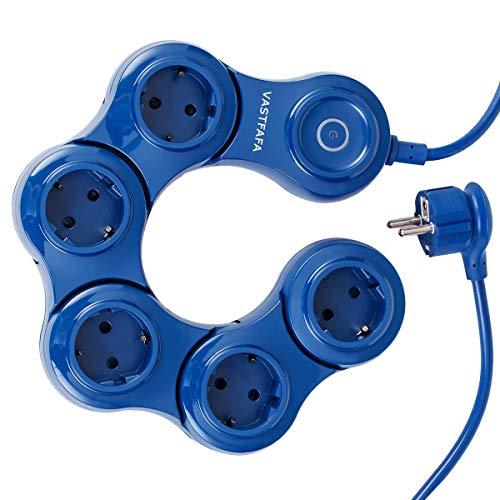 VASTFAFA Steckdosenleiste 5 Fach Mehrfachsteckdose mit Schalter Steckdosenverteiler 180 Grad Drehen Steckerleiste Überspannungsschutz Mehrfachstecker für Reise, zu Hause 3680W 16A 1,5m Kabel Blau