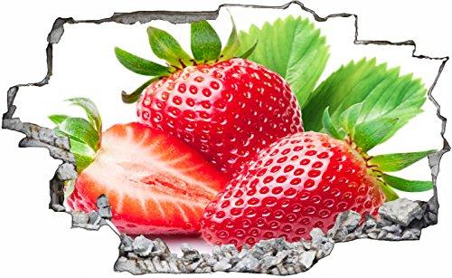 DesFoli Erdbeeren Strawberry Obst 3D Look Wandtattoo 70 x 115 cm Wanddurchbruch Wandbild Sticker Aufkleber C424