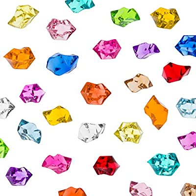 Acrylic Color Ice Rock Crystals Treasure Gems for Table Scatters, Vase Fillers, Event, Wedding, Birthday Decoration Favor, Arts & Crafts (385 Pieces) by Super Z Outlet®
