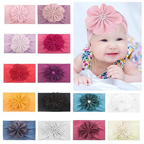 CHSEEO 13 Stück Baby Stirnbänder Elastische Haarband Turban Kleinkind Stirnband Haar Bogen Fliege Schleife Haarreifen Mädchen Head Wrap zur Kostüm Fotografie Props #4