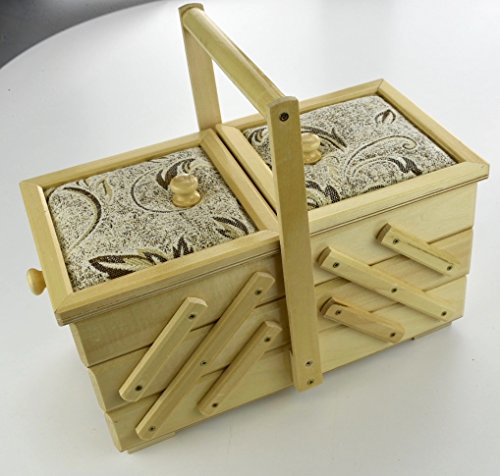 Baúl pequeño natural vintage costura joyas cosméticos caja del tesoro almacenamiento tela...