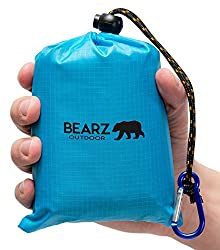 A light blue pouch and an unfurled travel-size beach/picnic blanket.