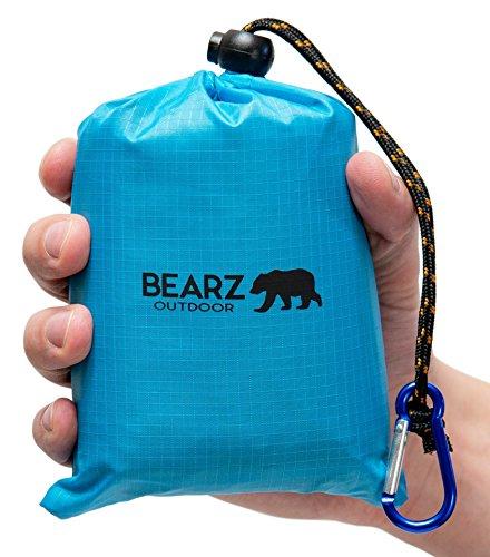 BEARZ Outdoor Pocket Blanket Picnic Mat, Outdoor Blanket Waterproof Park Blanket, Travel Blanket, Waterproof Picnic Blanket, Beach Blanket Waterproof Sandproof, Camp Blanket for Hiking (Blue)