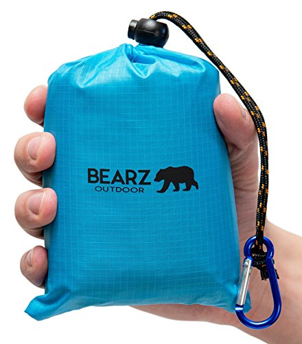 BEARZ Outdoor Pocket Blanket Beach Blanket, Waterproof Blanket Travel Blanket Picnic Blankets Tarp, Outdoor Blanket Picnic Blanket Camping Blanket Picnic Mat, Waterproof Picnic Blanket (Blue)