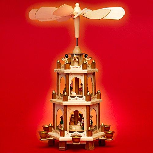 SIKORA P20 Klassische Holz Weihnachtspyramide 3 Etagen