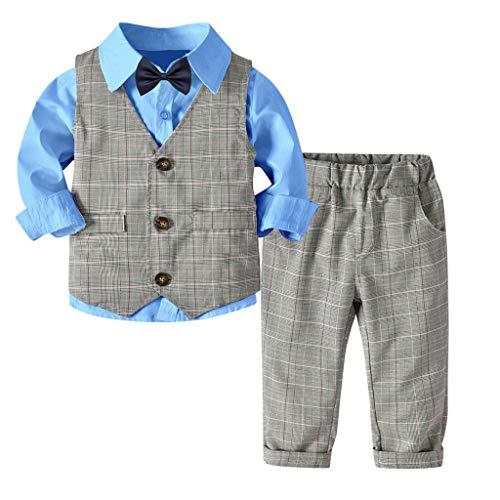 MRULIC Baby Junge Bowtie Gentleman Weste T-Shirt Hosen Hochzeit Anzug Tuch Sets(A-Blau,Höhe:110-120cm)