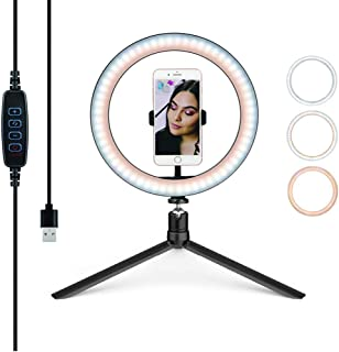 26cm Selfie Ring Light LED with Tripod Stand and phone holder clip & 10 Brightness Level & 3 Light Modes and 120 Bulbs 550...