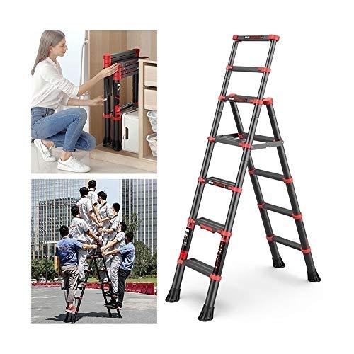 CRZJ Escalera Telescópica, Escalera de Mano - Escalera de Aleación de Aluminio Retráctil de Varias Posiciones - Escalera Ajustable Y Plegable con Marco en A - Pedales Antideslizantes