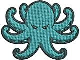 Iron on/Sew On Patch Applique Simple Angry Teal Octopus Cartoon Emoji Embroidered Design (Small (3' Wide x 2.3' Tall))