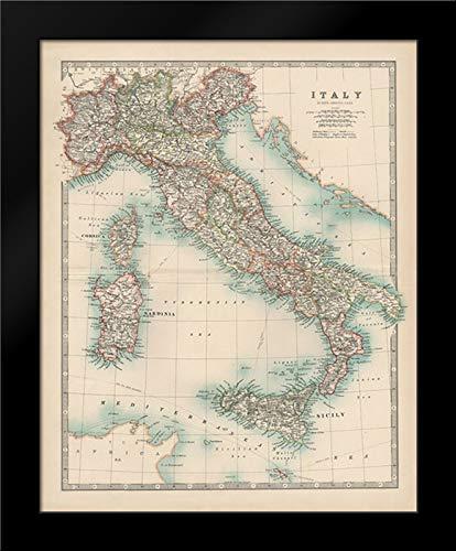 Johnston 20x24 Black Modern Framed Art Print Titled Johnstons Map of Italy