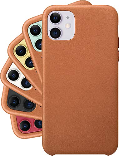 LONLI Classic | Genuine Nappa Leather Case - for Apple iPhone 11 - (6.1 inch, Caramel)