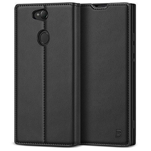 BEZ Hülle für Sony Xperia XA2 Hülle, Handyhülle Kompatibel für Sony Xperia XA2 Tasche, Hülle Schutzhüllen aus Klappetui mit Kreditkartenhaltern, Ständer, Magnetverschluss, Schwarz