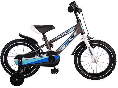 Vélo Enfant Garçon Blade 14 pouces avec Roues de Formation Blue Silver - 95% assemblé