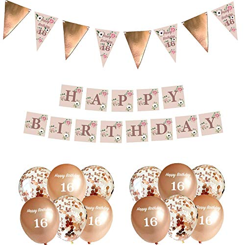 Blue Planet Fancy Dress 16th Birthday Party Decorations Rose Gold Floral Bunting Garland, Banner & 12 Confetti Balloons for Women Girls Happy 16