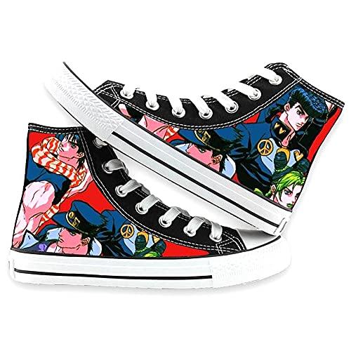 Vngbds Zapatos de Lona JoJo's Bizarre Adventure Zapatos de Anime Zapatillas Altas Zapatillas de Suela de Goma for Estudiantes Casuales con Cordones Zapatos Planos para Estudiantes Adultos
