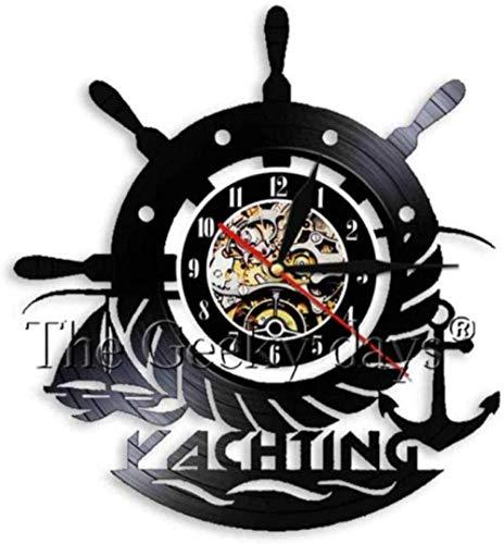 ZZLLL Reloj de Pared de Vinilo Reloj de Pared de Disco de Vinilo decoración del hogar led música Ancla Barco Marina brújula lámpara de Pared Regalo Retro Hombres Mujeres Anime de Dibujos Animados