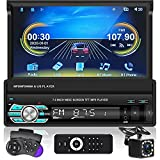 Radio de Coche 1 DIN Car Stereo 7 Pulgadas 1080P HD ,Android Auto y CarPlay,Video del automóvil,Bluetooth,Reproductor MP5 Mirrorlink y Cámara de Visión Trasera FM/AUX/USB/TF/SD
