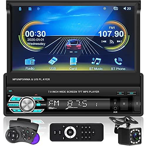 Podofo AutoradiAo con Car Play e Android Auto, Autoradio Universale 1 Din con Bluetooth USB/FM/TF/SD Mirror link, Lettore MP5 Auto Con Telecamera Posteriore