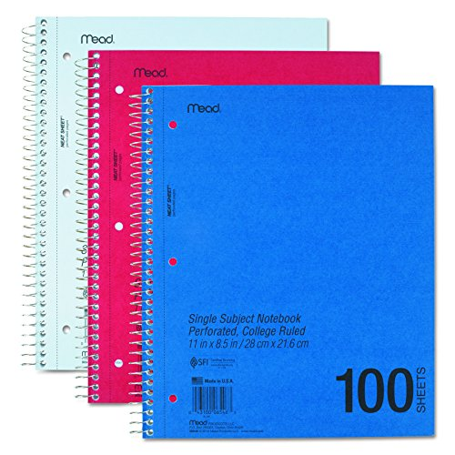 Mead Mid Tier Single Subject Notebook, College Rule, Letter, White, 100 Sheets/Pad (06546)