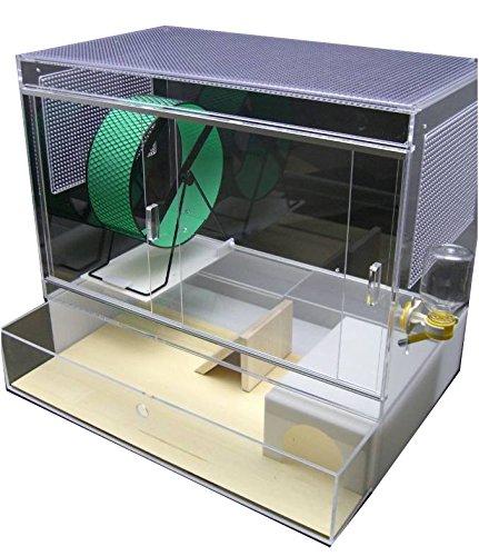 ハリネズミ用アクリル飼育ケージフルセット(フラットタイプ/メタルサイレント仕様)35*60*52