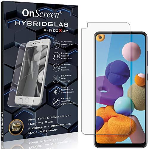 OnScreen Schutzfolie Panzerglas kompatibel mit Samsung Galaxy A21s Panzer-Glas-Folie = biegsames HYBRIDGLAS, Bildschirmschutzfolie, splitterfrei, MATT, Anti-Reflex - entspiegelnd