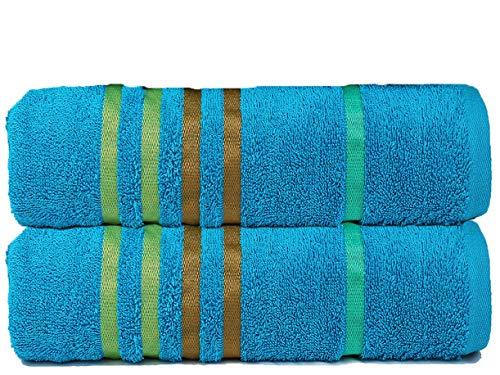 CASA COPENHAGEN Exotic Collezione - Set di 2 Asciugamani da Bagno 60cm x 120cm in Cotone, qualità 475 g/m², Colore: Blu Ottanio