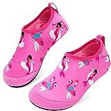 JOINFREE Girls Boys Water Shoes Aqua Socks for Kids Swim Walking Pool Rose Mermaid 11-11.5 Little Kid